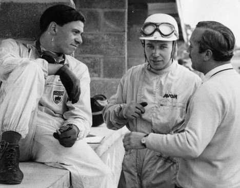 1960: Lotus boss Colin Chapman (right) has two future champions at Lotus in 1960. John Surtees (centre) and Jim Clark  @dailymail